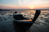 Sunset with boat, Andaman Sea, Koh Libong, Thailand — Stock Photo