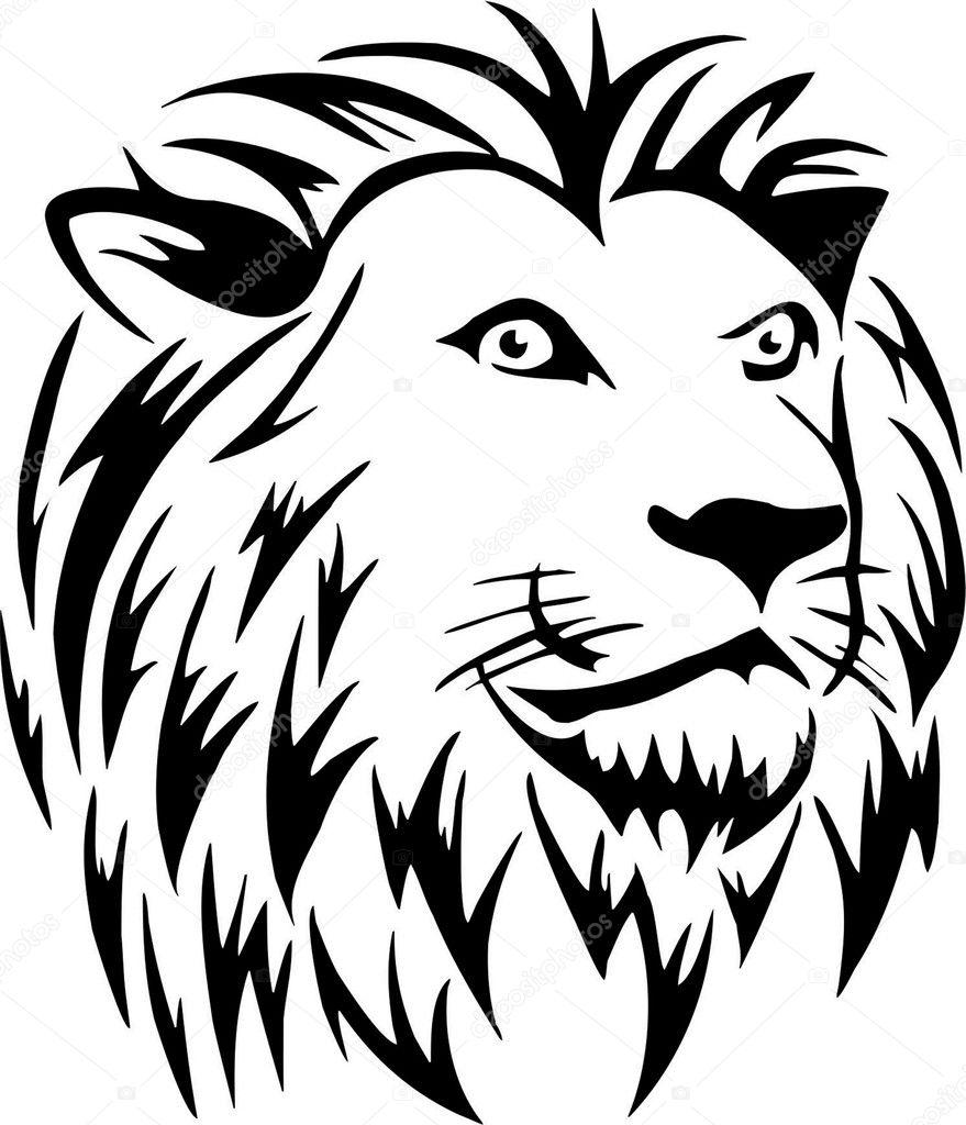 Line Drawing Lion Head : Lions head — stock vector baxspirit