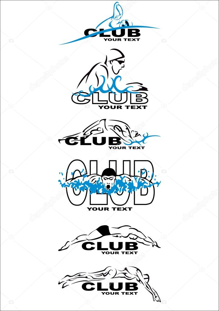 Swim Club Logo Set of Swim Club Logos