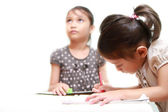 Kid Feels Bored While Sister Doing Homework After School — Stock Photo