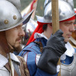 Stock Photo: Medieval soldiers. Participants of medieval costume party.