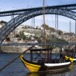 View of the Dom Luis I bridge, Porto - Stock Photo