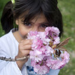 Girl smelling pink flowers - Stock Photo