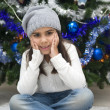 Adorable girl waiting for Santa — Foto de Stock