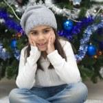 Adorable girl waiting for Santa — Stock Photo