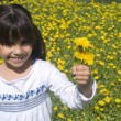 Little girl in yellow spring meadow — Stock Photo