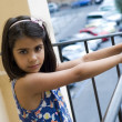 On the balcony of home. Portrait - Stock Photo
