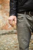 Teenage boy smoking — Stock Photo