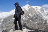 Hiker on top of the mountain — Stock Photo