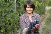 Woman in vineyard — Foto Stock