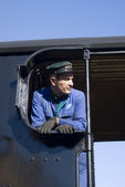 Steam train driver — Stock Photo