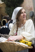 Participant of medieval costume party — Stock Photo