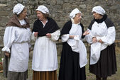 Participants of medieval costume party — Stock Photo