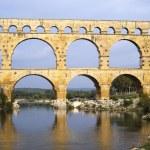 Roman bridge and aqueduct — Stock Photo