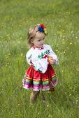 Little girl in traditional Ukrainian costume — Stock Photo