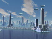 UFO over Futuristic Alien City — Stock Photo