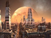 Planet-rise over Alien City of the Future — Stock Photo