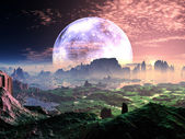 Dawn on Idyllic Earth-like Planet — Stock Photo