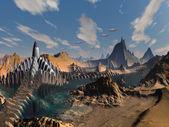 Flying Saucer Invasion of Alien City — Stock Photo