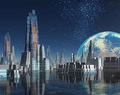 Futuristic Moon Base City on Alien World — Stock Photo