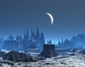 New Moon over Blue Alien Planet Landscape — Stock Photo