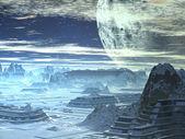 Futuristic Alien City in Winter Snow — Stock Photo