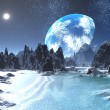 Stock Photo: Winter Earth rise from Alien Shores