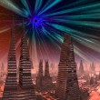Stock Photo: Black Hole over Futuristic City