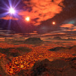 Lava Sea on Alien Planet - Stock Photo