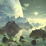 Planet Aufstieg über neue eden — Stockfoto