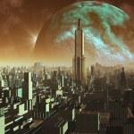 Daybreak over Alien Metropolis — Stock Photo #18476269