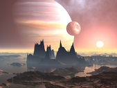 Twin Moons over Planet Europa — Stock Photo