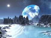Winter Earth rise from Alien Shores — Stock Photo
