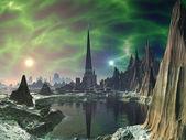 Torre de euforia en planeta electra — Foto de Stock