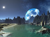 Earth-rise from Alien Shores — Stock Photo