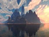 Fantasy Island Sunset or Sunrise — Stock Photo