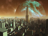 Daybreak over Alien Metropolis — Stock Photo