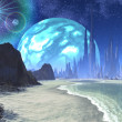 Twin Suns and Planet over Alien Beach World — Stock Photo
