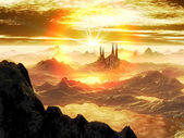 Breaking Dawn over Alien City in Snow — Stock Photo