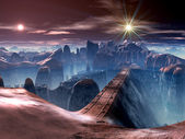 Futuristic Bridge over Ravine on Alien World — Stockfoto