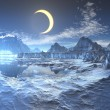 Lunar Eclipse over Frozen Planet - Stock Photo