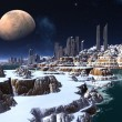 Alien Ghost City by Moonlight in Winter — Stockfoto