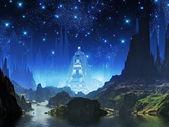 Kristal mavi ışık şehir — Stok fotoğraf