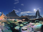 Futuristic City on Shores of Rainbow Pebble Bay — Stock Photo