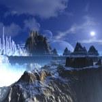 Mountain Top Futuristic Alien City — Stock Photo #18729247