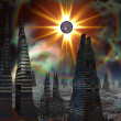 Stock Photo: Exploding Star over Futuristic City Skyline