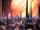 Perfect Alien City with Ring Planet — Stock Photo