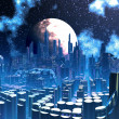 Futuristic Alien City built on Pylon Supports - Stock Photo