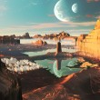 Alien Landscape with Futuristic Greek City - Stock Photo
