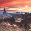 Star Temple and Vortex Chasm on Alien Desert World - Stock Photo